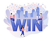 WIN text on falling down confetti background. Congrats winner. You Win Concept. Tiny people with gifts. Modern flat cartoon style. Vector illustration on white background
