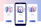 Business strategy. Tiny people work to data analysis, strategy planning and successful business. Chess game. Chess pieces.Screen template for mobile smart phone. Modern flat cartoon style. Vector