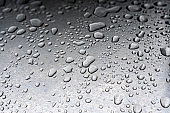 drops of water in a metal surface