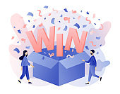 Open box with confetti explosion inside and WIN word. You Win Concept. Tiny people congrats winner. Modern flat cartoon style. Vector illustration on white background