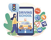 Driving school. Driver license. Tiny girl studying in drive lesson and passing exams online use smartphone. Traffic rules. Road signs.Modern flat cartoon style. Vector illustration on white background