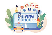 Driving school. Driver license. Tiny people studying in drive lesson and passing exams online use laptop. Traffic rules. Road signs. Modern flat cartoon style. Vector illustration on white background
