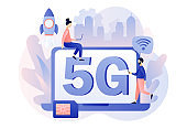 5G network wireless technology. Tiny people use laptop with letters 5g on screen. Sim card high-speed Internet. Modern flat cartoon style. Vector illustration on white background