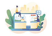 Retro game online. Tiny people playing classic platformer using laptop. Modern flat cartoon style. Vector illustration on white background