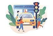 Tiny people studying in driving school and passing exams. Driver license. Traffic rules. Road signs. Education and drive lesson. Modern flat cartoon style. Vector illustration on white background
