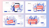 Sold-out event, sold-out crowd, no tickets available concept. Online booking system. Screen template for mobile smart phone, landing page, template, ui, web, mobile app, poster, banner, flyer. Vector