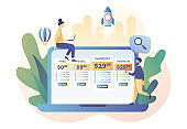 Tariff plans. Price list options plans for online services. Pricing table for business. Tiny people choose their plan type. Modern flat cartoon style. Vector illustration on white background