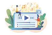 Media player app. Music play list. Tiny people listen music, sound, audio or radio online with laptop. Modern flat cartoon style. Vector illustration on white background