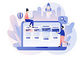 Tariff plans. Price list options plans for online services. Tiny people choose their plan type. Pricing table for business. Modern flat cartoon style. Vector illustration on white background