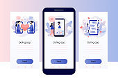 Online dating. Tiny people chatting in the dating app. Virtual relationship. Acquaintance in social network. Screen template for mobile smart phone. Modern flat cartoon style. Vector illustration