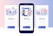 Self-learning, online education, e-book, distance e-learning. Self development concept. Skill improvement. Goal achieving. Screen template for mobile smart phone. Modern flat cartoon style. Vector