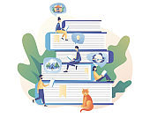 Book library. Tiny people reading books. Literature fans, E-book, media library, learning online, reading app. Modern flat cartoon style. Vector illustration on white background