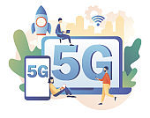 Tiny people use gadgets with letters 5g on screen. 5G network wireless technology. Sim card high-speed Internet. Modern flat cartoon style. Vector illustration on white background