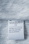 Clothing care label. Close-up tag on a knitwear