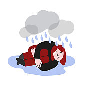 Depressed person lying on the floor in puddle of tears.