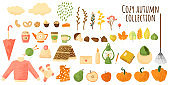 Autumn elements in flat cartoons style with grange texture. Colorful Vector illustration isolated on white. Fall icons collection in simple kids style. Big autumns set of different objects.