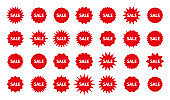 Star burst price stickers. Sale promo boxes, stamps. Vector illustration.