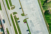 outdoor parking lot with empty parking spaces. aerial photography