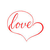 Love in a heart. A symbol of love, a word inscribed in the shape of a heart, lettering.