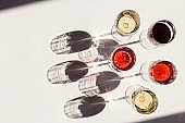 Set of wine in glasses. Red, rose and white wine