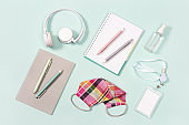 School accessories, new normal concept, face medical mask and hand sanitizer
