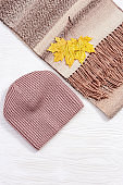 Fashion wool warm scarf and handmade knitted cap, cozy autumn female clothing decorated autumn leaves. Flat lay with comfort clothes