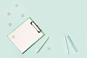 Flat lay with mock-up notebook and stationery for school or office.  School equipment.
