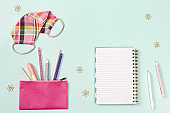 New normal concept workspace desk school with office supplies for girl and personal protective equipments.