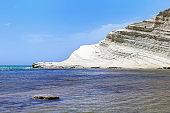 Turkish Staircase, Sicily island, Italy. Beautiful seascape with White Scala dei Tucrhi, Mediterranean Sea and blue sky.