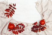 Red autumnal leaves of rowan tree, rowanberries and small decorating yellow pampkin, comfortable fabric scarf on white wooden background with copy space. Overhead view. Autumn theme.
