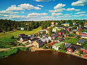 Aerial view of historical town of Porvoo in Finland