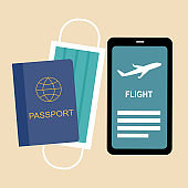 Smartphone, passport and medical face mask in flat design. Traveling items in Covid19 Coronavirus epidemic outbreak concept vector illustration.