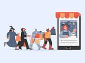 People group in Halloween fancy clothes with shopping bag walking to the cashier in smartphone. Concept of Monster shopping online.