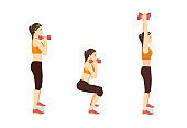 Sport Women doing Fitness with Dumbbell Squat and Overhead Press Exercise in 3 steps. How to easy Fitness training target to Arms muscles. side view.