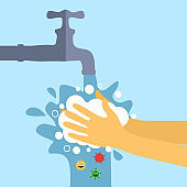 Wash hand concept vector illustration. A man or woman washing hands under faucet with soap and water. Virus protection healthcare in flat design.