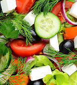salad with fresh vegetables and cheese