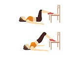 Woman doing workout with Hip Raise with two Legs on chair for firming her body.