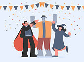 Vampire, Frankenstein, and witch dancing with happy and celebrations feeling in Halloween party. Illustration about fancy character cartoon in flat style.