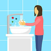 A woman washing her hands in the sink concept vector illustration. Washing hands under faucet with soap and water. Virus and bacteria prevention healthcare in flat design.