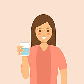 Woman drinking a glass of water. Thirsty and dehydration. Female character drink mineral water for health in flat design.