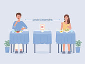 Man and Women doing social distancing while eating food alone at tables in the restaurant. Make blank space to prevent and stop Coronavirus spread in public places. Illustration about the new normal.