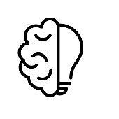 Creative icon of a half brain half light bulb representing ideas, creativity, knowledge, technology and the human mind.