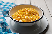 Creamy mac and cheese on white background