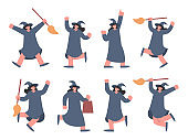 Witch character cartoon collection with hat and broom. Character for the Halloween theme and spooky concept.