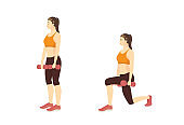 Sport Woman doing exercise with Dumbbell Lunge in 2 step.Fitness with lightweight equipment for leg muscles.
