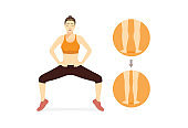 Woman doing Sumo Squat With Calf Raises for get rid fat leg, calf and thighs.