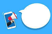 Hand holding megaphone in a smartphone. Background for advertisement. Vector illustration.