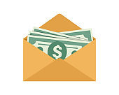 Opened envelope with money. Dollar bills. Salary, earning and savings concept. Flat style illustration