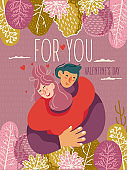 Valentine's day on greeting vector card with cute young trendy people. Hand-drawn style with modern couple in love.