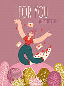 Valentine's day on greeting vector card with cute young trendy people. Hand-drawn style with modern woman in love.